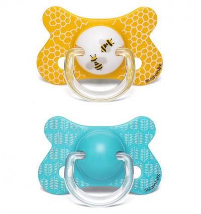 Smoczek fizjologiczny 2 szt. PRÊT-À-PORTER +18m Pszczoła żółta