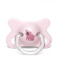 Smoczek fizjologiczny PRÊT-À-PORTER -2-4m  Pies różowy